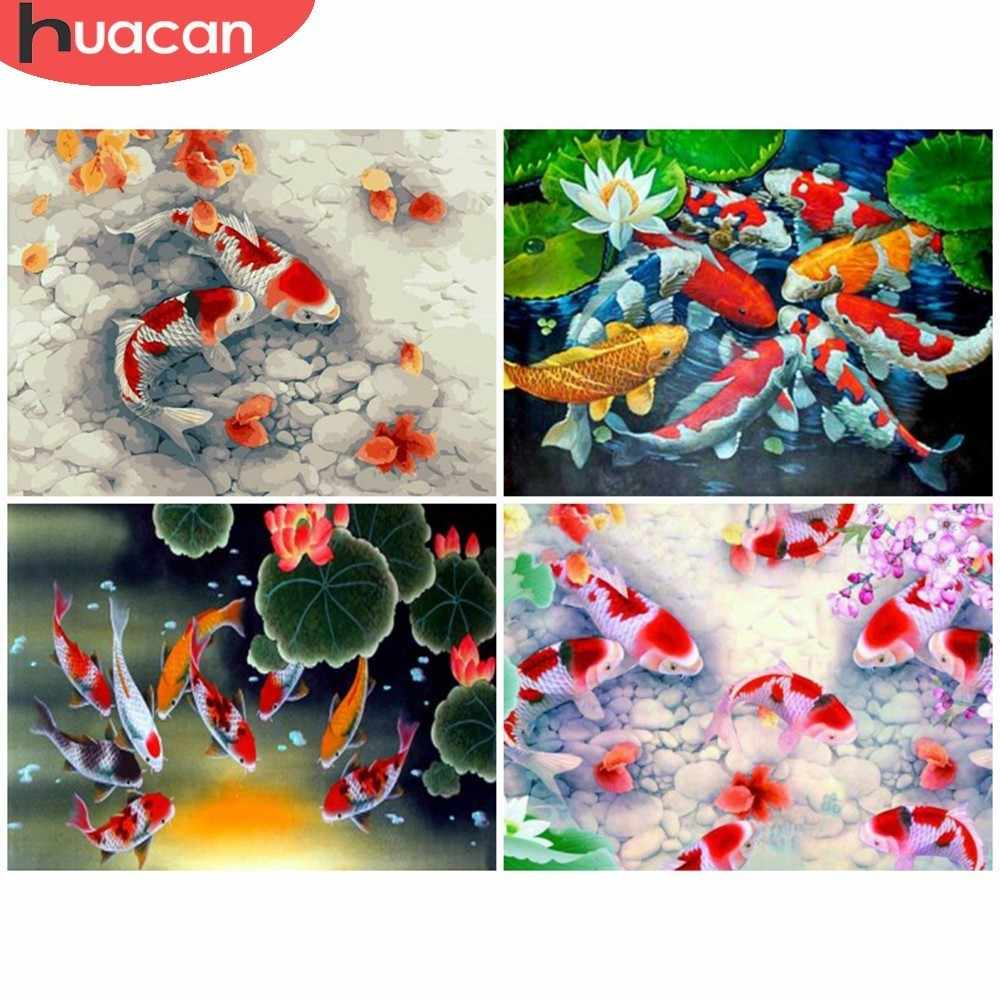HUACAN Full Square Diamond Painting Animal Rhinestones Mosaic 5D DIY Diamond Embroidery Full Display Fish Home Decor Gift