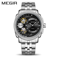 Business Watch for Men MEGIR Luxury Quartz Watches Stainless Steel Military Wrist Watches Men Clock Hour Time Relogio Masculino