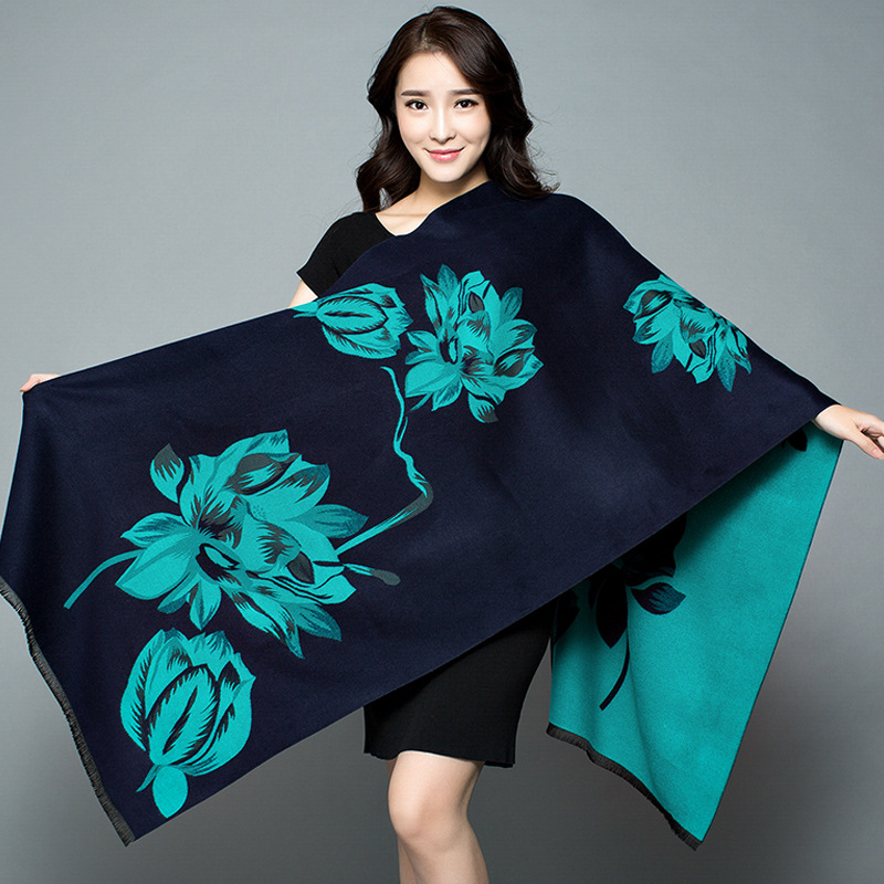 Autumn And Winter New Ladies Big Lotus Double sided Printing Imitation Cashmere Scarf Thick Warm Big Shawl Female
