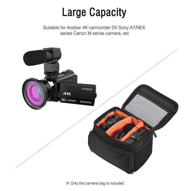 Andoer 4K Camcord 1080P 48MP WiFi Digital Video Camera with 0.39X Wide Angle Macro Lens+Microphone+LED Video Light+Camera Bag 5