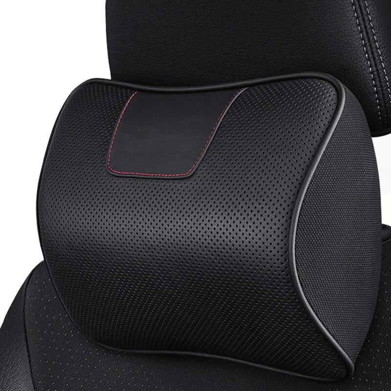 1PCS Car Leather Neck Pillow Memory Foam Headrest Cushion Vehicle Seat Rest Pad Interior Accessories