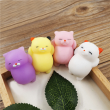 купить 4pcs 3D Cute Mochi Squishy Toy Lazy Cat Slow Rising Kawaii Kids Toys Panda Bear Animal Stress Relief Abreact Toy в интернет-магазине
