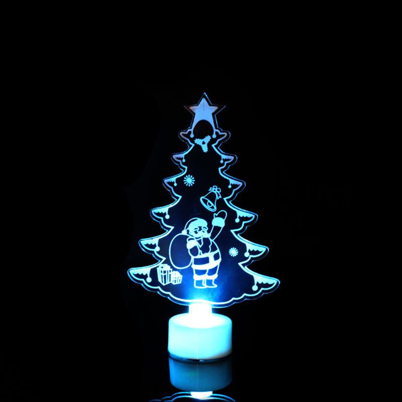 1pc Multi Color Led Light Clear Acrylic Christmas Tree Snowman New Mood Lamp Night Box Button Batteries Included Colorful Fine Quality Event & Party Festive & Party Supplies