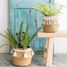 Cesta de almacenamiento plegable, cestas creativas para plantas acuáticas naturales de mimbre, paja, cesta plegable para macetas, proveedor de lavandería para jardineras