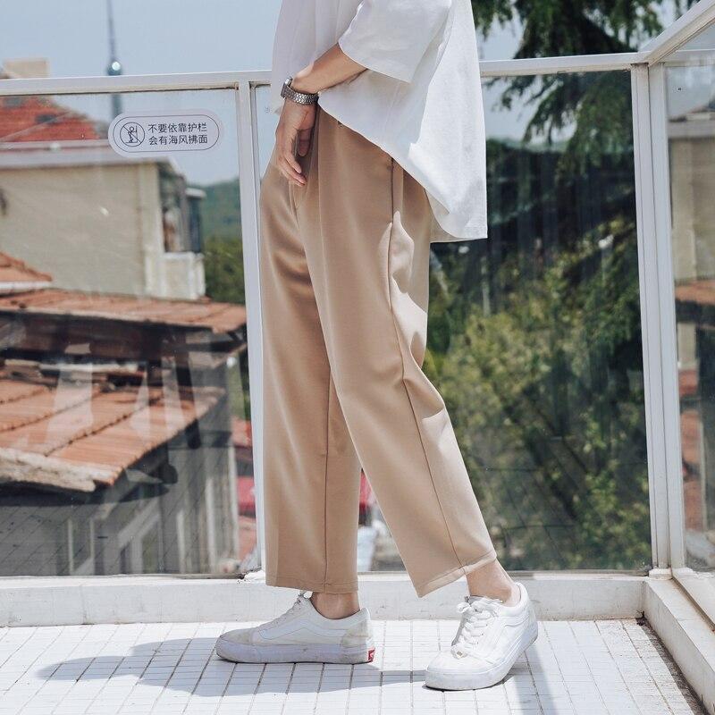 2019 Summer Men's Solid Color Male Haren Leisure Men Cotton Casual Pants Loose High Quality Fabrics Black/khaki Trousers M-XL