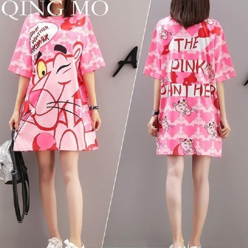 QING MO 6 Styles Women Summer Dress 2019 Printed Doll Yellow Striped Dress T shirt Short Sleeve dress Animal Frog Dog Bear QM068