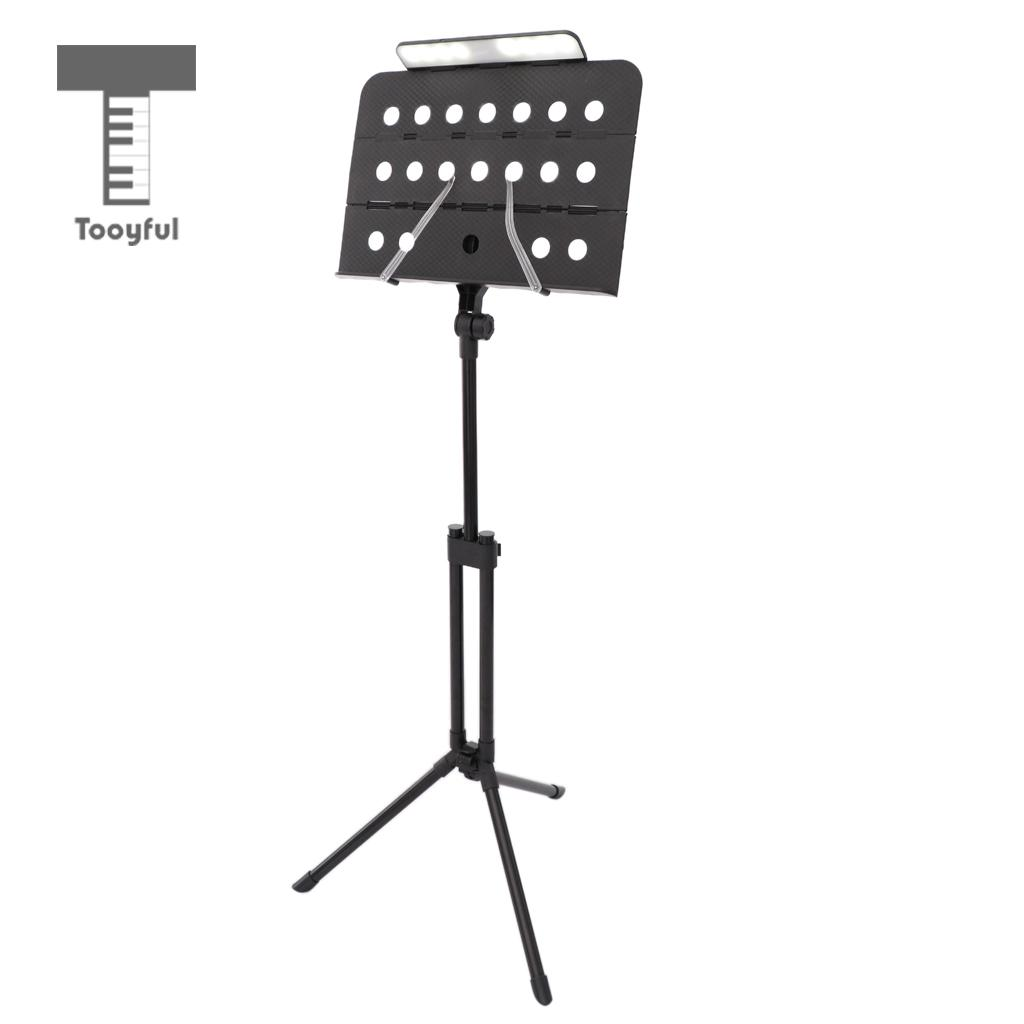 Tooyful Foldable Tripod Music Stand Music Score Support Rack Black with Charging LED Lamp Light 24 led music stand light 2 level change easy to carry foldable fl 9032