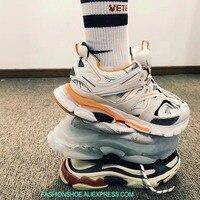 2019 трек Кроссовки сетчатые и нейлон лоскутное мужские кроссовки кружево до Спортивная мужская обувь увеличивающая рост платформа повседне