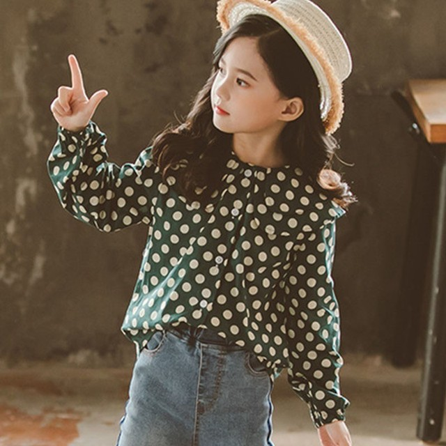 Spring 2019 Red Green Dot Printed Cotton Blouses For Teenage Girls Long Sleeve O -neck Shirts Blouse Kids Tops Children Clothing