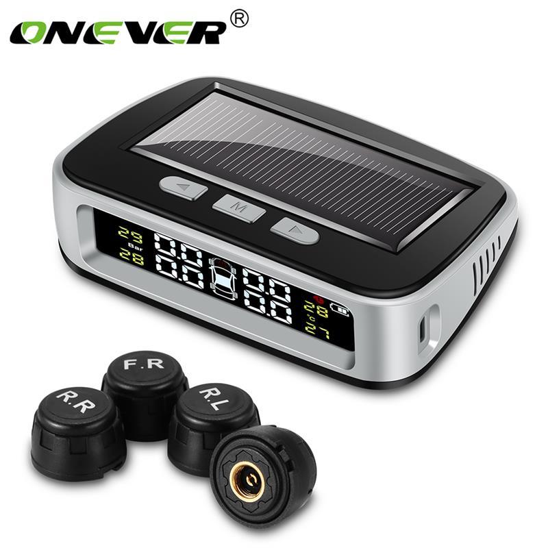 Solar Wireless Car Tire Pressure Alarm Monitor System TPMS 4 External Sensor P67 Temperature LCD Display