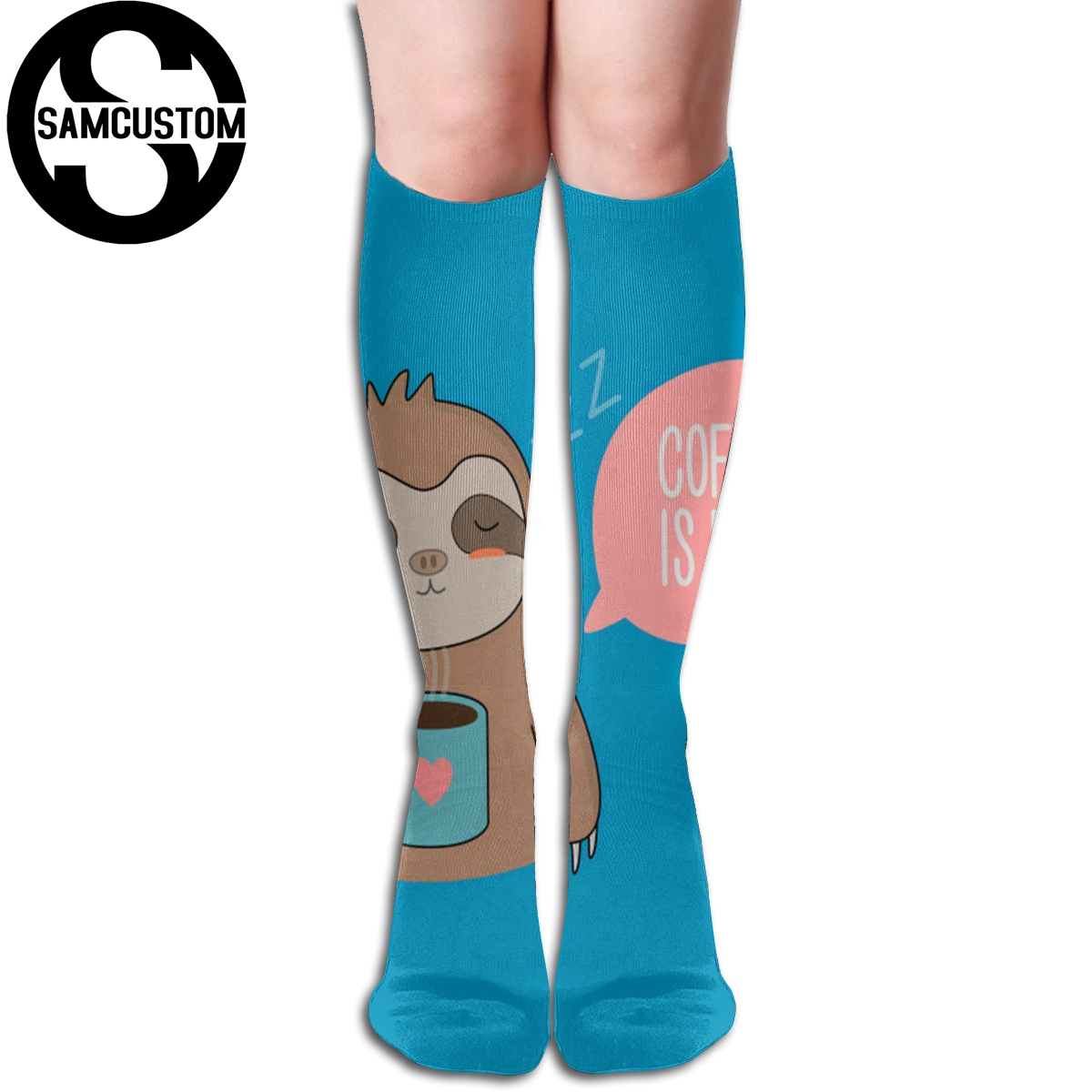 SAMCUSTOM Personalized custom sloth 3D printing female <font><b>kawaii</b></font> <font><b>knee</b></font> <font><b>socks</b></font> fashion girl cute stockings image