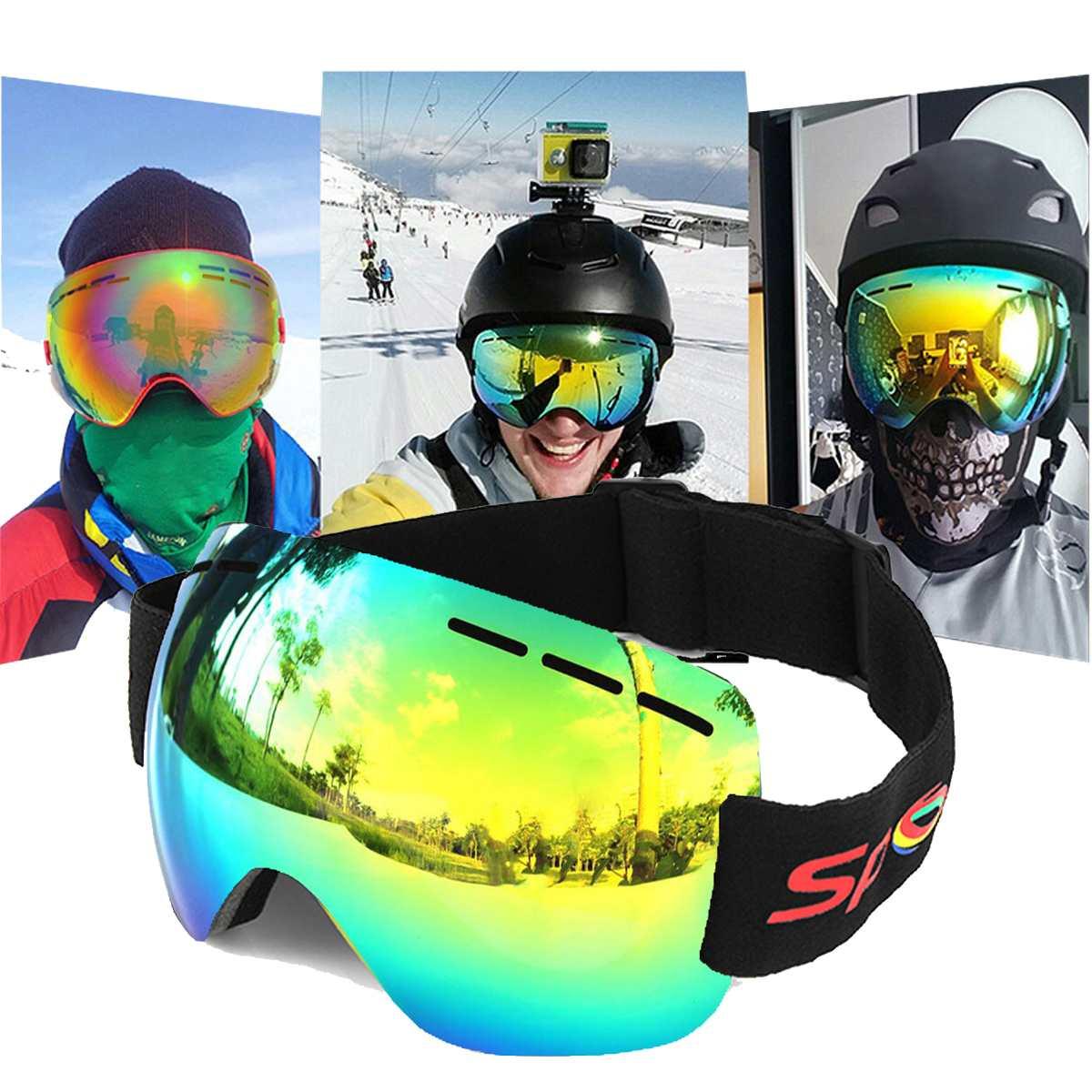 סקי משקפי סקי אנטי ערפל UV הגנת סנובורד משקפי גברים נשים שלג ספורט סקי משקפיים Snowmobile מסכת החלקה