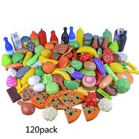 120PCS Children Doll House Pretend Kitchen Plastic Food Toys Simulation Pizza Fruits And Vegetables Drink Toys Set Ice Cream Toy