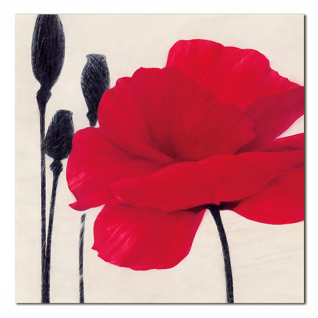 Modern  Style Red Rose Paintings Non-Woven Paints Home Decorative Print Picture Photo Without Frame