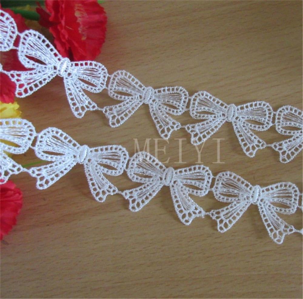 2 ярдов бабочка лук вышитые Кружево отделка края ленты аппликация DIY Вышивание ремесло, вязание крючком Винтаж Свадебные Свадебное платье одежда