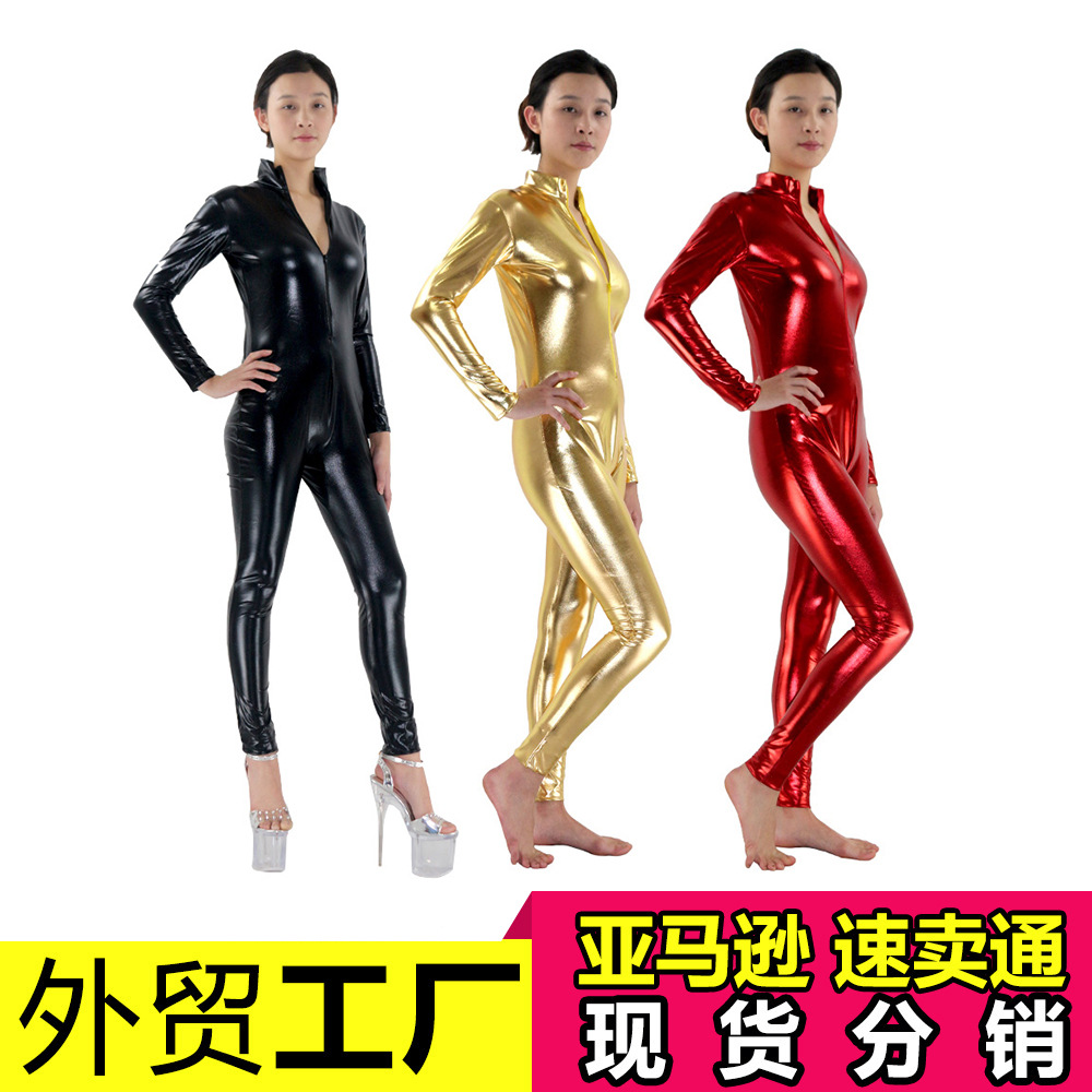 2018 s-3xl black purple red green Bodysuit Sexy Clubwear Stripper Leather zentai pvc Jumpsuit