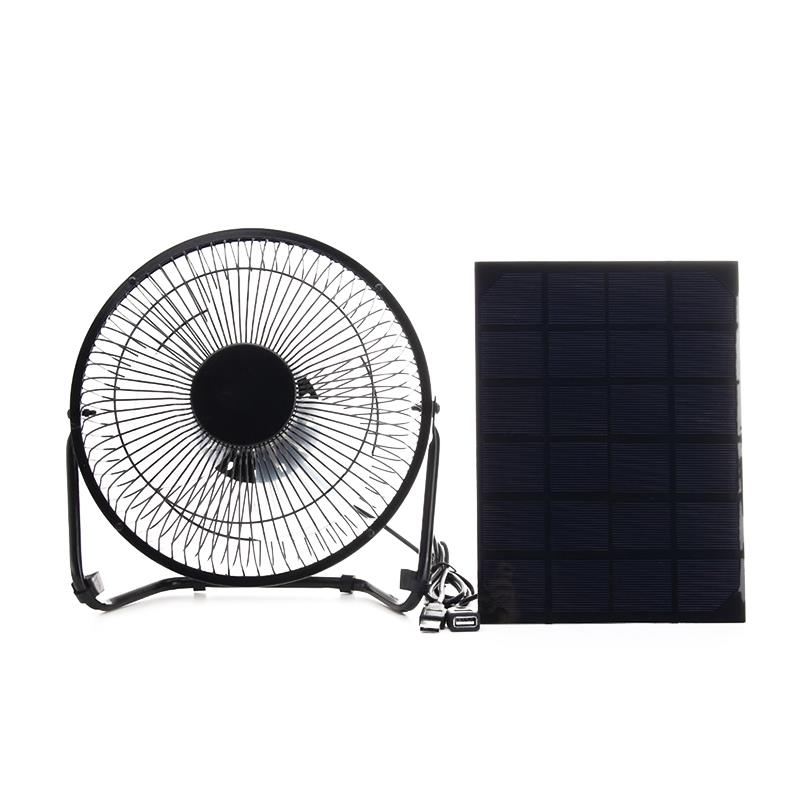 Black Solar Panel Powered +USB 5W metal Fan 8Inch Cooling Ventilation Car Cooling Fan for Outdoor Traveling Fishing Home Offic