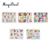 5 Sets Wooden Peg Jigsaw Puzzles Baby Toddler Kids Educational Toy Gift