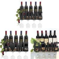 Wine Glass Wine Bottle Holder Upside Down Wall Cabinet Goblet Rack Wrought Iron Home Cork Storage Container Shelf Decoration