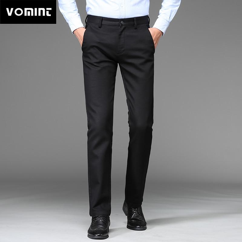 2020 New Mens Suit Pants Regular Straight Fit Anti-wrinkle Cotton Elasticity Long Trousers Business Casual Pants Blue Khaki Male