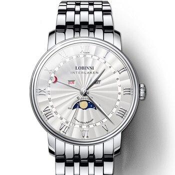 LOBINNI Watch Men Luxury Brand Switzerland Men Watches Sapphire Waterproof Moon Phase reloj hombre Japan Miyota Movement L3603M3
