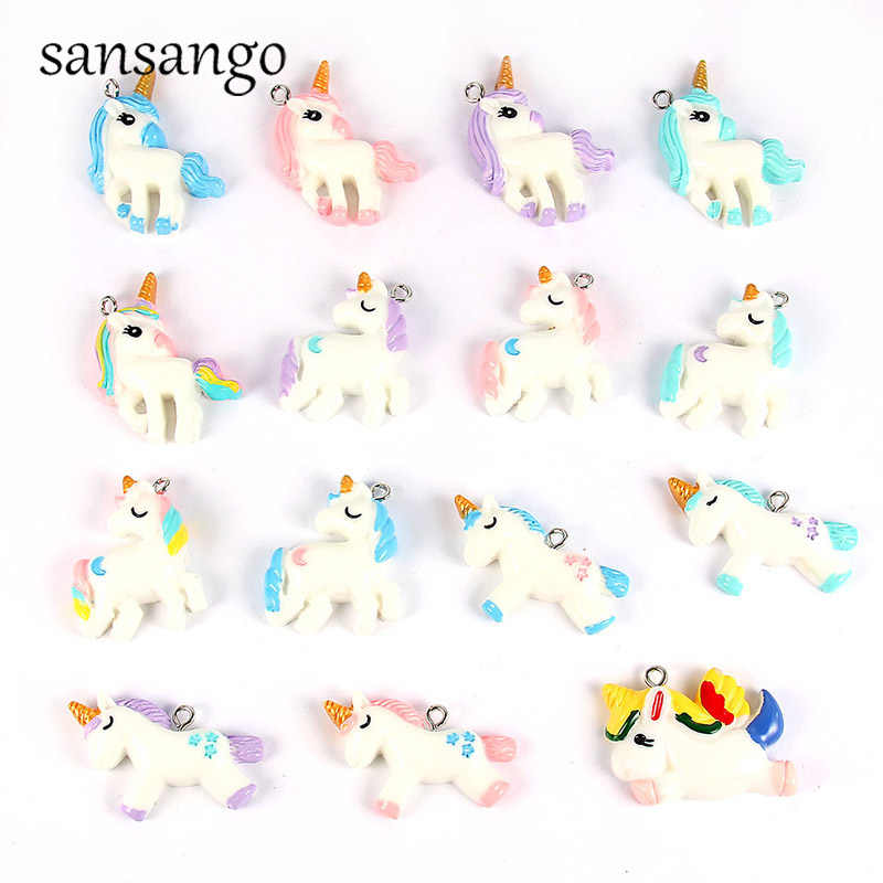 15style Colorful Resin Unicorn Charms Pendant Beads For Jewelry Making Accessories DIY Necklace Cute Keychain For Unisex Gift