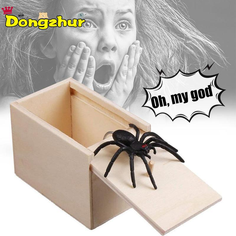 Kids Toy Wooden Prank Trick Practical Joke Office Scare Toy Box Gag Christmas Gift Spider April Fool's Day Panic Box