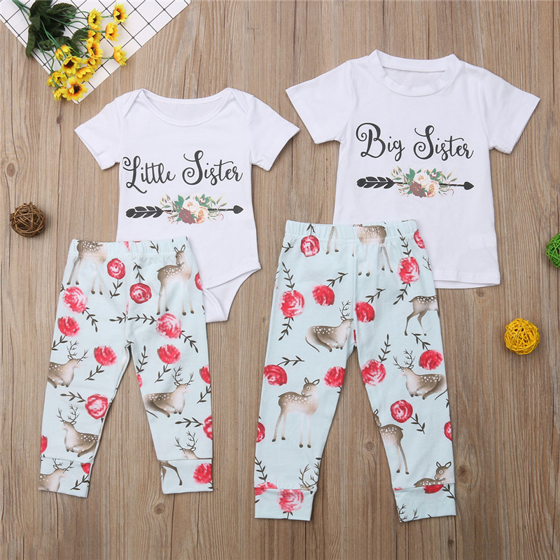 Matching Family Outfits Puseky Sister Matching Outfits Kid Baby Clothes Set 2pcs Big Sister T-shirt+floral Pants Little Sister Bodysuit+trouser Autumn
