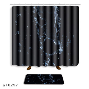 The Water Droplets 2pcs Shower Curtain and Rug Set 3D Bath Mat for Home Decor Tiolet Mat with Hooks Carpet for Bathroom Blanket(China)