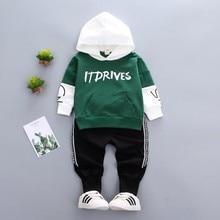 цена на 2019 Spring Toddler Cotton Infant Clothes Baby Girl Boy Sport Hooded T-Shirt Sweatshirt Pants 2pcs/Set Children Kids Casual Suit