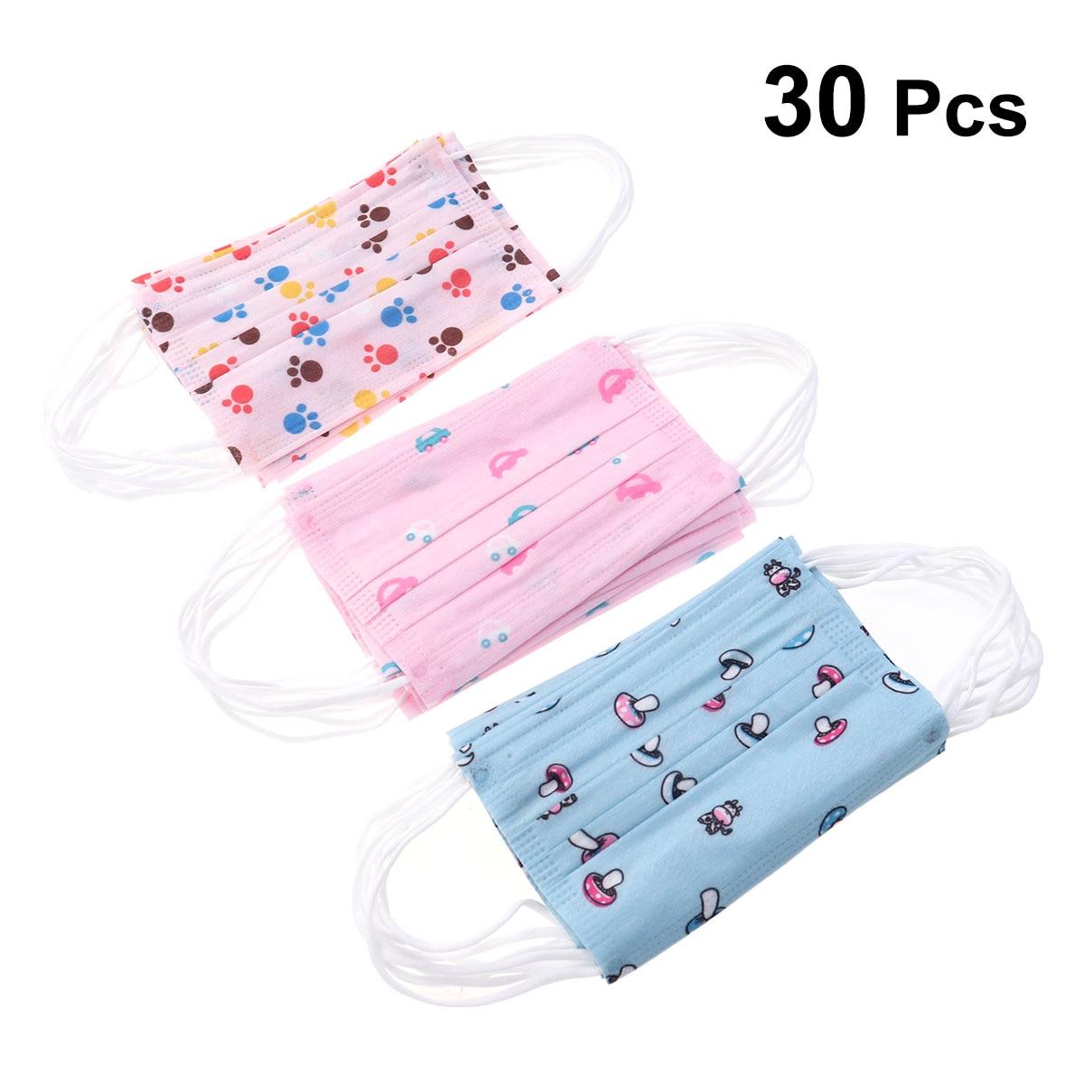 Damen-accessoires 30 Pcs Anti Staub Mund Gesicht Maske Atmungs Cartoon Gedruckt Einweg-ohrbügel Atemschutz Masken Vlies Stoff Für Kinder Heller Glanz