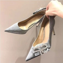 Sexy Bling Glitter Wedding Shoes Bride Bowtie Crystal Embellished High Heel Pumps Women Slip-on Banquet