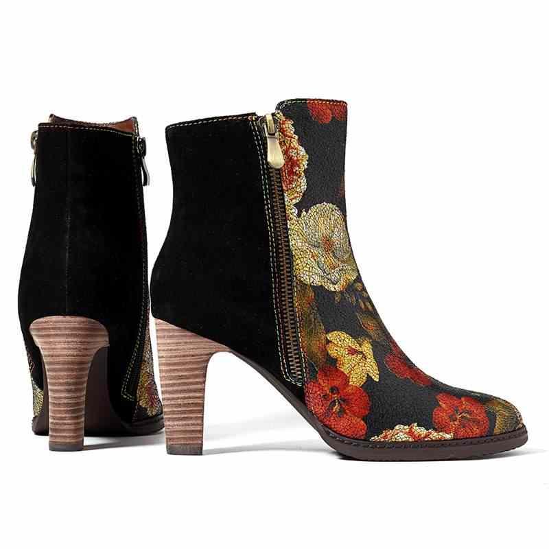 Socofy Splicing Lederen Laarzen Vrouwen Schoenen Winter Bohemian Vintage Bloem Gedrukt Suede Enkellaars Rits Hoge Hakken Nieuwe
