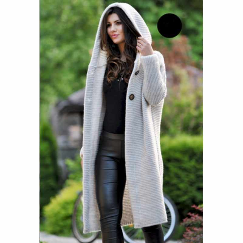 3d5ff770e09 ... 2019 New Plus Size Women Hooded Cardigans Casual Loose Long Sweater  Long Sleeve Knitted Long Sweaters ...