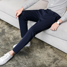 Mens Trousers  Spring New Youth Fashion Nine Pants Slim Feet Suit Personality Casual Clothing