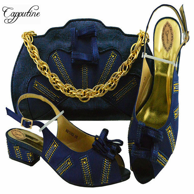 Capputine Fashion Italian Rhinestone Shoes And Bag Set For Party African  Style Woman Low Heels Shoes And Bag Set For Party b8ecea008104