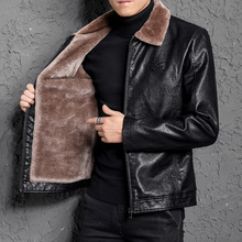 Winter Leather Jacket Men Thick Warm Fur Lining PU Jackets Coat Business Casual