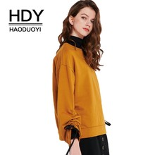 HDY Haoduoyi 2019 New Girl Drawstring Drop Shoulder Sleeve Round Neck Sweatshirts