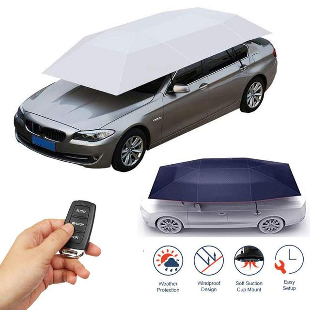 Portable Full Automatic Car Cover Umbrella Outdoor Car Tent Umbrella Roof Cover UV Protection Kits Sun Shade with Remote Control 1