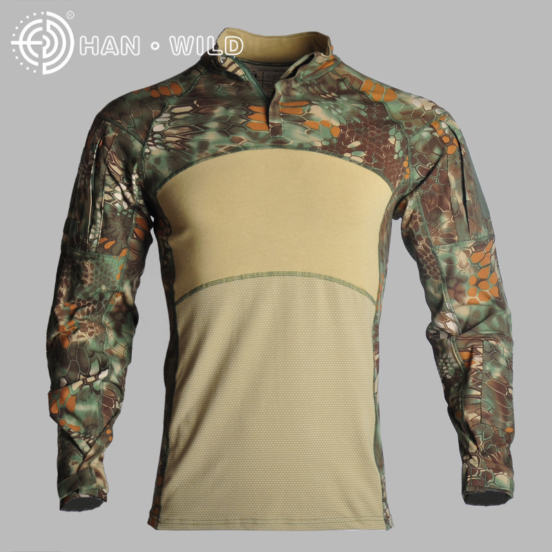New Outdoor Camouflage tactical Hot t shirt long mens sports suits Cotton 2019 Climb 100% breathable ACU CP tactical jackets - 5