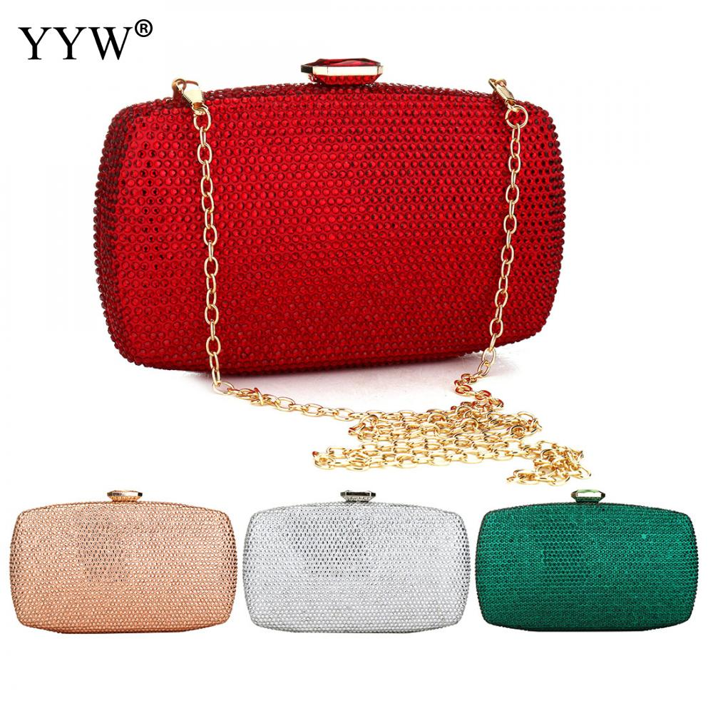 Red Full Of Rhinestones Women Evening Bags Silver Gold Clutch Bag Crystal Wedding Handbags Chain Shoulder Clutch Purse Bag 2019 in Top Handle Bags from Luggage Bags