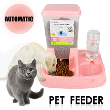 2 in1 Pet Cat Dog Automatic Water Drinker Dispenser Food Feeder Dish Bowl Bottle