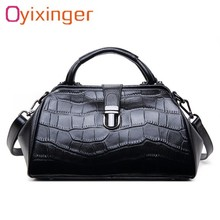 OYIXINGER Women Genuine Leather Messenger Bags Womens Alligator Clasp Pillow Totes Bags Female Real Leather Crossbody Doctor Bag