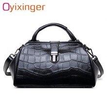 OYIXINGER kadın hakiki deri postacı çantası bayan timsah toka yastık tote çanta kadın gerçek deri Crossbody doktor çantası