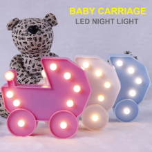 LED Night light 3D Fashion Baby Carriage Light Table Lamp Home Decor Romantic D35