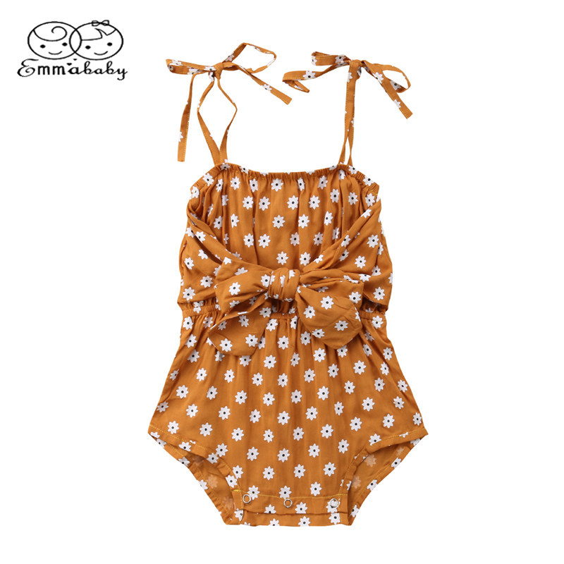 Newborn Baby Girl Strap Bowknot Floral Romper Polka Dot Backless Hanging shoulder Jumpsuit Outfits Sunsuit