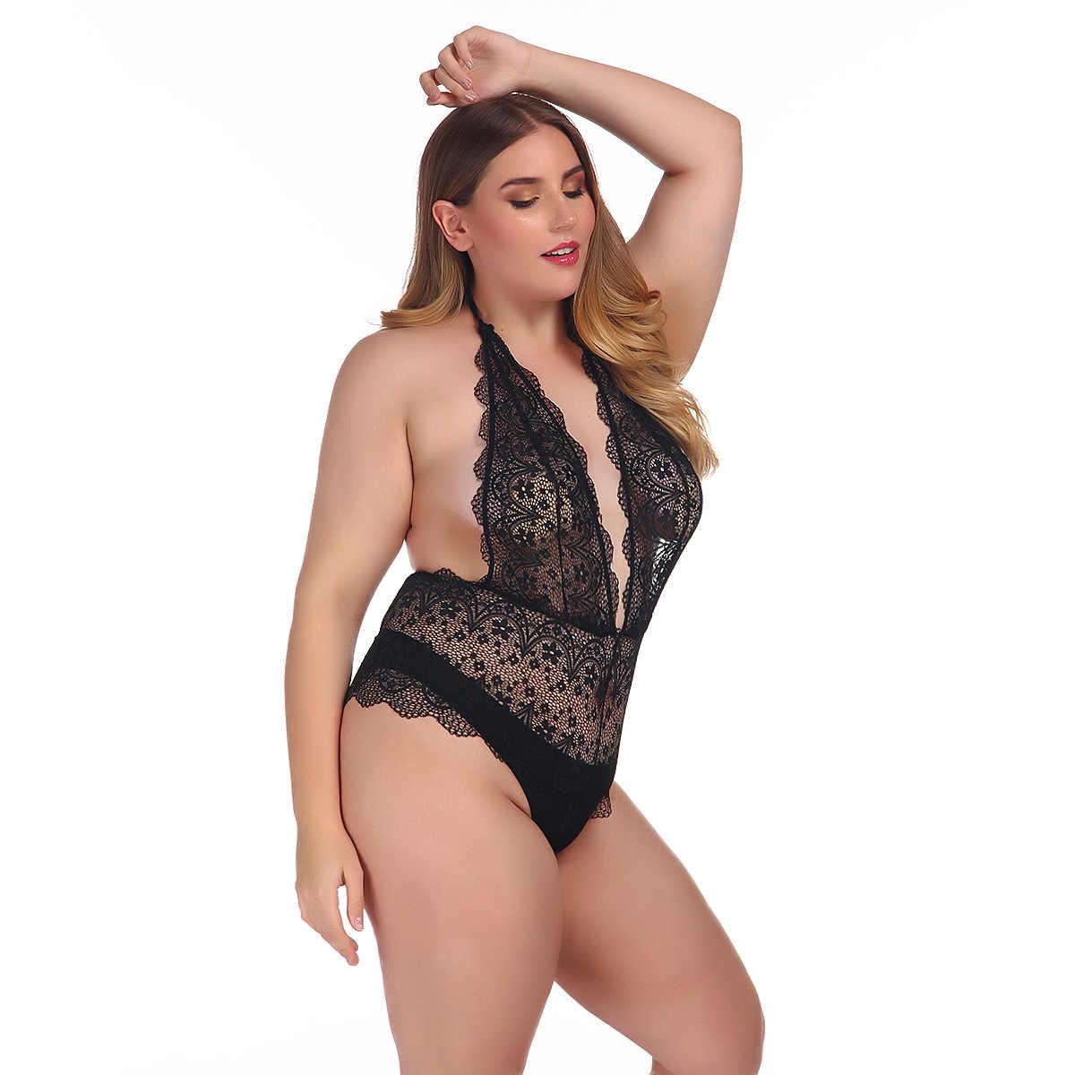 2019 плюс размеры кружево боди для женщин цветочный сексуальный спинки Дамы Тощий белый/черный клубный комбинезон Комбинезоны для девоче