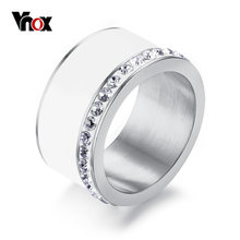 Vnox Bling Wedding Rings for Women Shiny AAA CZ Stones 11mm Chunky Stainless Steel Elegant Female Engagement Anel Jewelry(China)