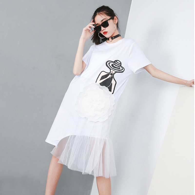 [EAM] 2019 New Spring Summer Round Neck Short Sleeve Black Pattern Printed Mesh Stitch Loose Dress Women Fashion Tide JQ621