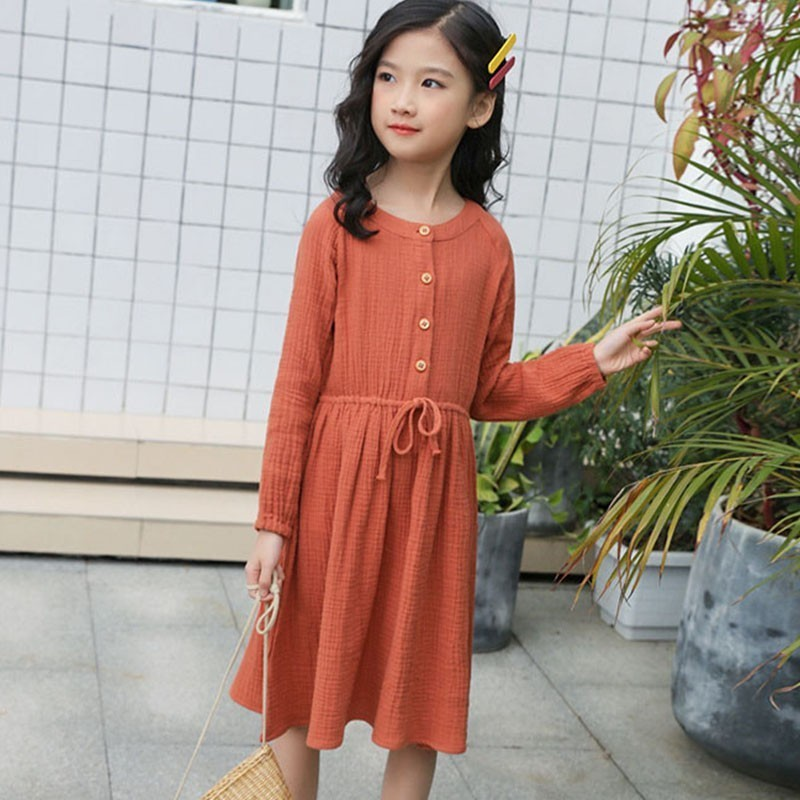 Teen Party Princess Dress For Girl Clothing New Spring 2019 Kids Solid Cotton Long Sleeve Knee Length Dresses Children ClothingTeen Party Princess Dress For Girl Clothing New Spring 2019 Kids Solid Cotton Long Sleeve Knee Length Dresses Children Clothing